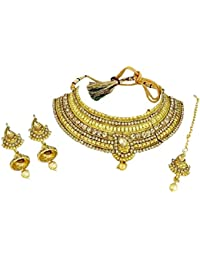 DeAaaStyle Antique Gold Plated Choker Necklace Set With Earrings And Maang Tikka For Women And Girls - Brown Stone
