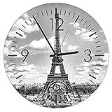 Feeby, Wanduhr, mehrfarbige Deco Panel Bild mit Uhr, Durchmesser 40 cm, EIFFELTURM, PARIS, AUSSICHT, SCHWARZ-WEIß