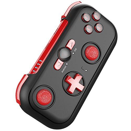 PowerLead Kabelloser Bluetooth Game Controller für Android / OS Phone, Windows PC und Nintendo Switch mit Tragetasche und Universalständer (Rot)