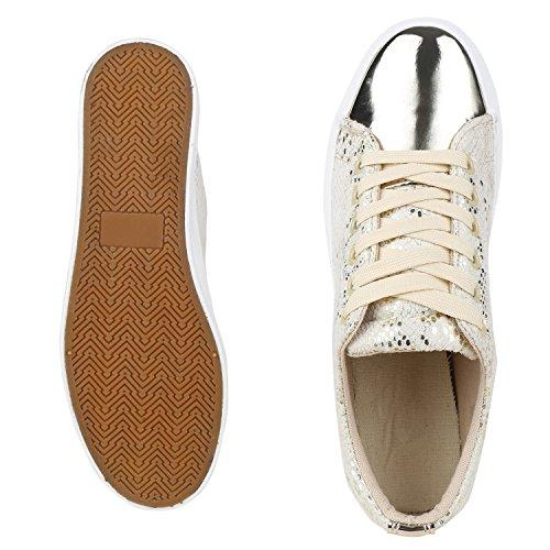 Sneakers Piattaforma Donna Scarpe Sportive Stile Anni 90 Scarpe Per Il Tempo Libero Jennika Gold Snake