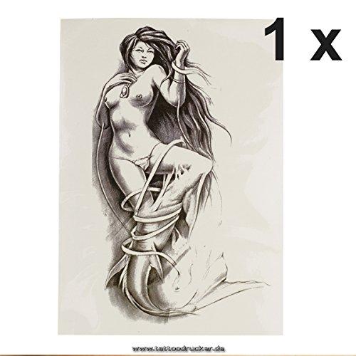 1 x Fischfrau - Nackte Meerjungfrau - schwarzes XL einmal Haut Tattoo - HB777 (1)