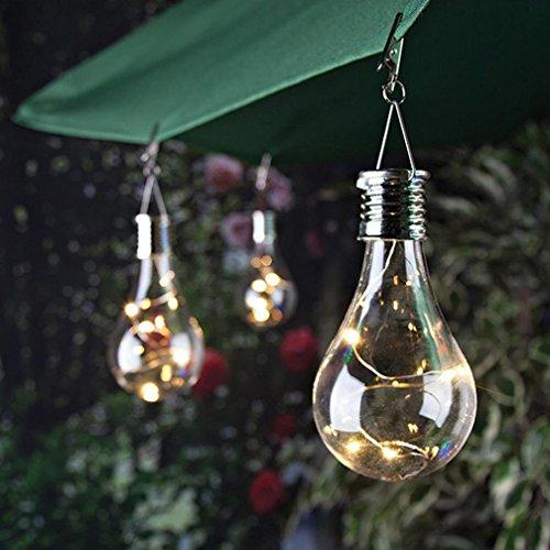 Upxiang Kupfer-Birnen-Schnur-Lichter, wasserdichtes Solar drehbares Licht, im Freien Garten-kampierende hängende LED-helle Lampe (Klar)