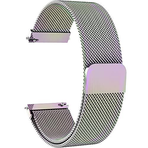 Fullmosa 6 Colores para Correa de Reloj, Piel Correa Huawei Samsung Correa/Banda/Band/Pulsera/Strap de Recambio/Reemplazo 14mm 16mm 18mm 20mm 22mm 24mm,22mm,Vistoso