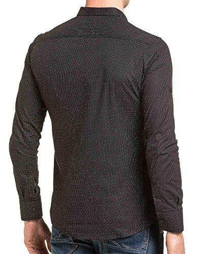 BLZ jeans - Chemise homme noire cintrée boutons et pressions Noir