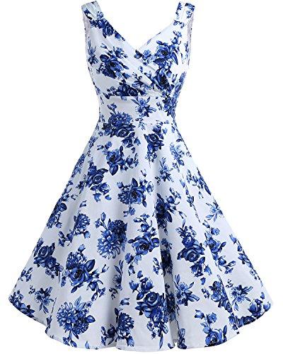 Bridesmay Damen Vintage 50S Retro Partykleid Rockabilly Knielang Cocktailkleid White Blue Flower S