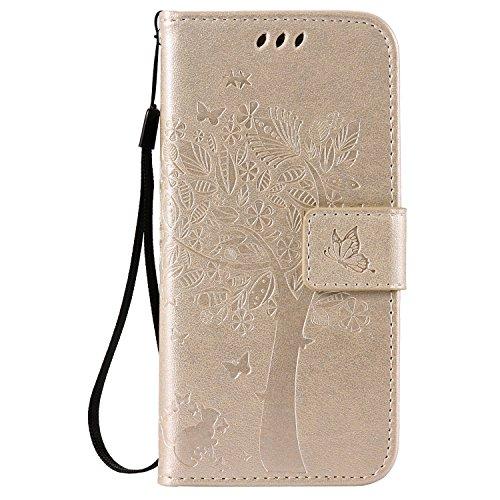 iPhone 7 Plus Hülle Lanyard Strap Ledertasche Brieftasche,iPhone 7 Plus Bookstyle Magnetverschluss [Gold Einfarbig] Standfunktion Handy Hülle,Herzzer Elegant Erhaben Schmetterling Baum Katze Entwurf K Gold