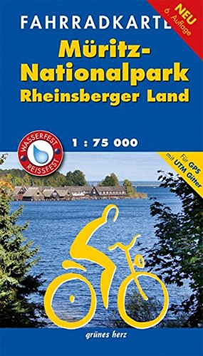 Fahrradkarte Müritz-Nationalpark, Rheinsberger Land: Mit UTM-Gitter für GPS. Wasser- und reißfest. (Fahrradkarten) - Herz Radfahren