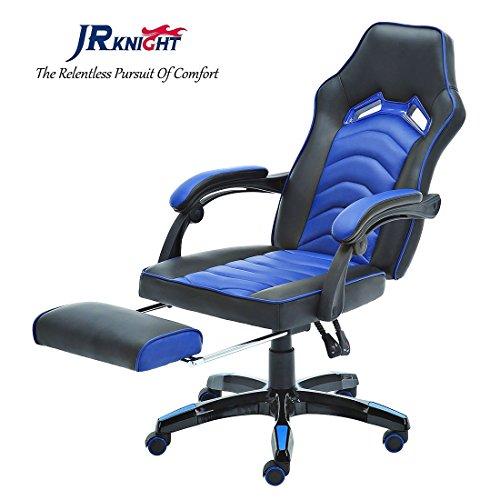 Jr caballero silla ergonómica de juego con reposapiés, profesional jugador de diseño de oficina en casa de ordenador giratoria silla de carreras, silla de cuero PU acolchado escritorio con recliner y base de cromo (azul, LC-04BKBL) (Blue-1)