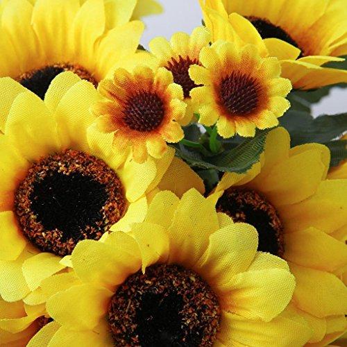 ELECTROPRIMEÃ?â??® 2 Bunch Artificial Sunflower Wall Hanging Flower Garland Bush Wedding Decor