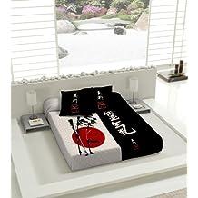 TSUKI Colcha multipunto NAGASAKI cama Zen Chillout japonesa 100% algodón (Cama 150)
