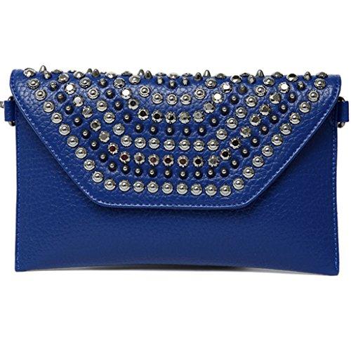 borsa frizione marea moda 2016 nuova borsa sacchetti del pranzo coreano rivetti diamante del polso di modo bag ( Colore : Embossed Blue ) Embossed Blue