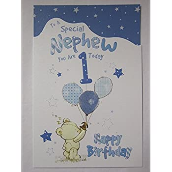 Nephew 1st birthday amazon office products wonderful colourful to a special nephew 1 today 1st birthday greeting card bookmarktalkfo Images