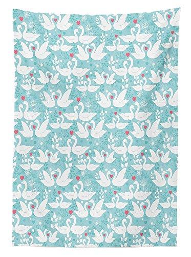 Yeuss swan outdoor tovaglia, love san valentino paisley floreale romantico colore pastello cuori dandelions, decorativo lavabile tovaglia per picnic, morbido blu bianco, 132,1x 177,8cm, 60