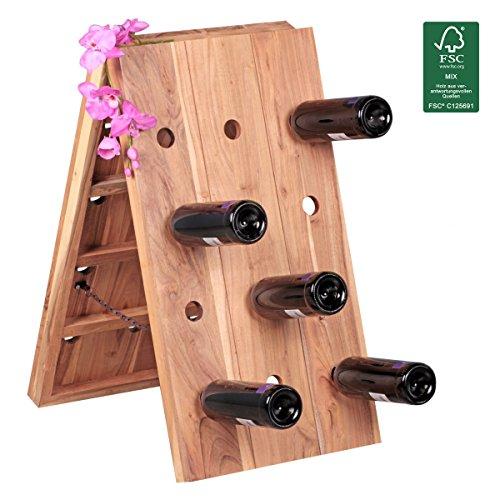 FineBuy Weinregal Massivholz Flaschenregal für 24 Flaschen Design Standregal mit Kette...