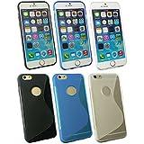 "Emartbuy® Apple Iphone 6 6G 6S 4.7 "" Zoll Ultra Slim Gel Hülle Schutzhülle Case Cover Packung 3 - Blau, Klar & Schwarz"