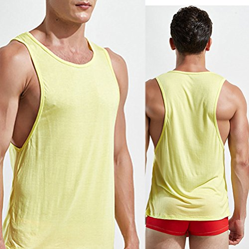 Zhhlaixing Soft Mens Summer Breathable Vests Trainning Gym Tops Underwear Size:XL XXL Yellow