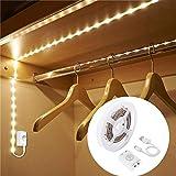 LED Streifen mit Bewegungsmelder,OriFiil 1m 30LEDs Lichtleisten USB Wiederaufladbare Bettlicht Schranklicht mit 3 Modi und Timer,Nachtlicht für Schlafzimmer, Kleiderschrank, Baby Beleuchtung warmweiß