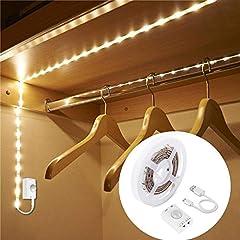 Idea Regalo - 1M 30LED Luce LED da guardaroba con sensore di movimento,Striscia LED sensore di movimento,LUXJET sensori di movimento Luce notturna a LED,3000k bianco caldo per armadi (1MCharge)