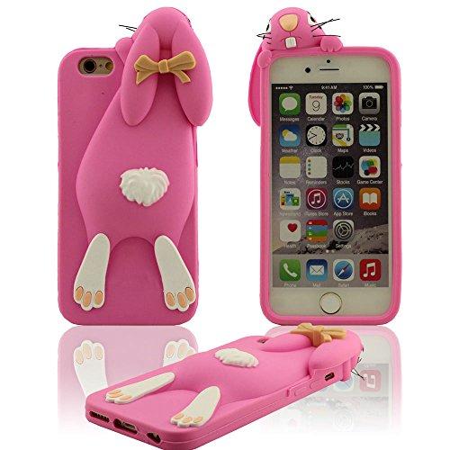 """Bella Carino Piccolo Coniglio Design Serie 3D Modellismo Vari colori Morbida Premio Silicone Gel Protective Case per iPhone 6S / iPhone 6 4.7 Pollici (iPhone 6 Plus 5.5"""" non adatto) Rosa caldo"""