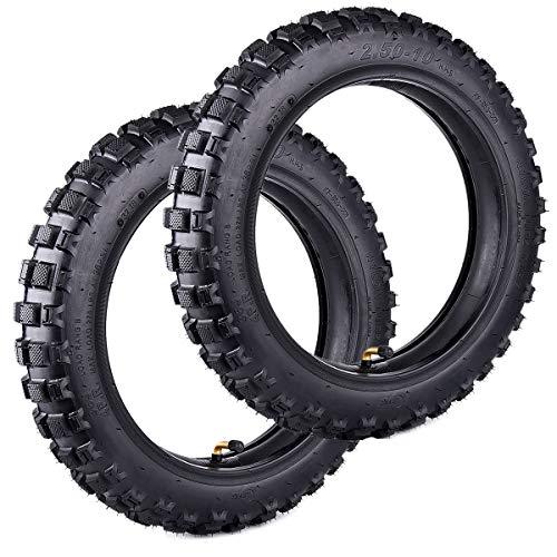 Wingsmoto Knobby Mini Dirt Bike Tire 2.50-10 Avant + Arrière sur Moto pour Motocross Match Inner Tube Taille 2.50-10 TR87 Tige De Valve Tente