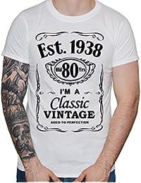 IiE, 80th Birthday, EST. 1938, Vintage Year, Mens Gift T-Shirt,