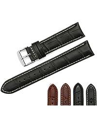 iStrap 20mm Cuero Genuino Correa Pulsera del Reloj con Broche Watch Band Strap Negro café Costura