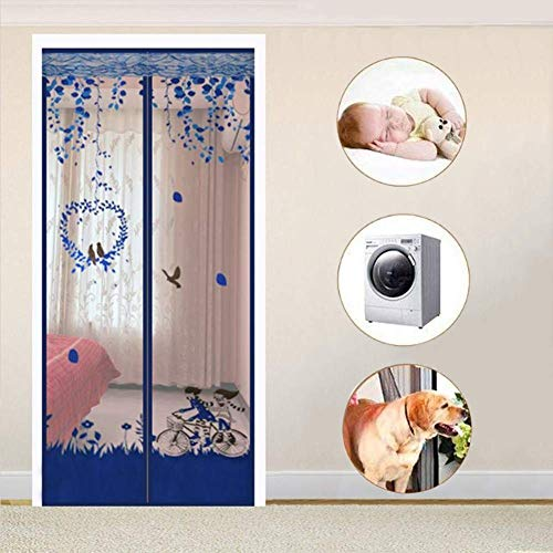 YHEGV Home Magnetic Door Screen, Fly Insect Screen Door Mesh Curtain Easy to Install Mosquito net Keeps Bugs Out Close Automatically-G 210x95cm(83x37inch)