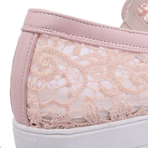 VogueZone009 Damen Ziehen Auf Niedriger Absatz Blend-Materialien Rein Rund Zehe Pumps Schuhe Pink