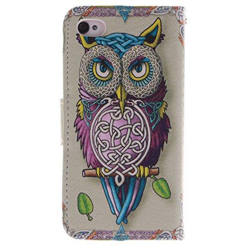 MOONCASE iPhone 4 4S Case Coque en Cuir Étui de protection à rabat pratique et chic Case pour iPhone 4 4S -TX09 ST07