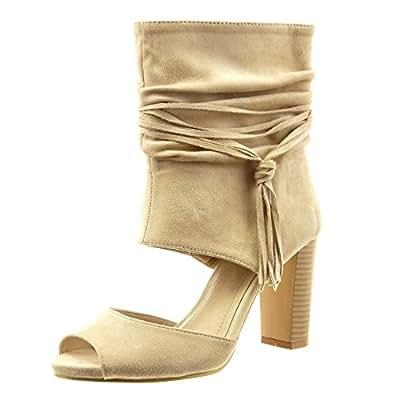 sopily chaussure mode bottine sandale ouverte cheville femmes boucle frange talon haut bloc 9. Black Bedroom Furniture Sets. Home Design Ideas
