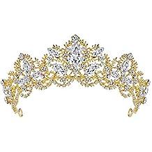 Fablcrew Vintage Regina Principessa Corona Copricapo da Sposa Copricapo di  Cristallo per Donne e Ragazze Size 58fab5c44fbf
