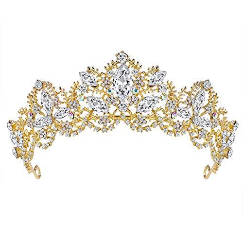 Fablcrew Vintage Regina Principessa Corona Copricapo da Sposa Copricapo di Cristallo per Donne e Ragazze Size 15.5 * 5.6CM (Oro)