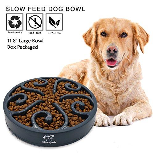 Decyam Gamelle antidérapante en Forme de Labyrinthe pour Animal Domestique - favorise Une Alimentation Saine et Une Digestion Lente (Large Black)