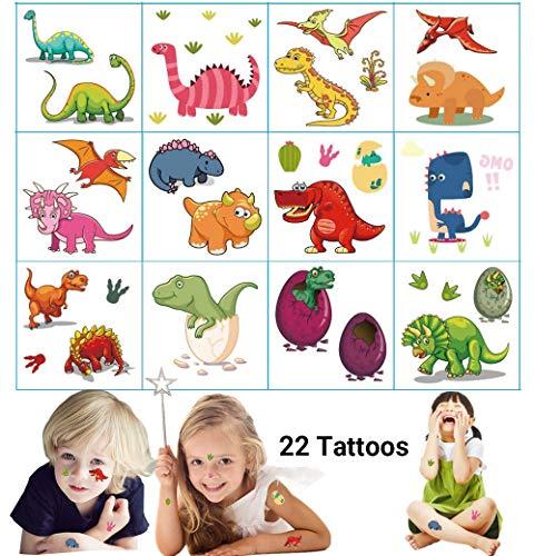 Dream Loom Temporäre Tattoos für Kindergeburtstagsfeier, Dinosaurier Party Supplies Party Gefälligkeiten, Removable Tattoos Aufkleber für Jungen Mädchen (Dinosaurier Tattoos, 12 Blatt)