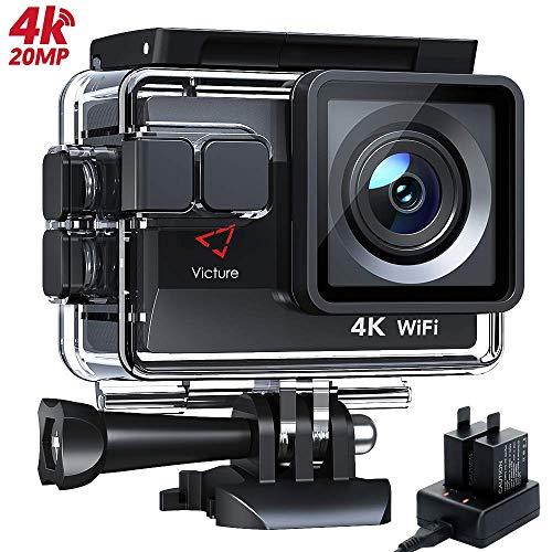 Victure AC800 Action Cam 4K 20MP WiFi Unterwasserkamera wasserdichte 40M Sports Helmkamera mit kostenlose Akkuladegerät, 2x1050mAh verbesserten Batterien