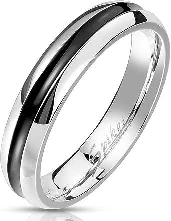 Paula & Fritz® Anello da donna in acciaio inox, 4 mm, sottile, nero, anello di fidanzamento, anello dell'amicizia, anello per partner, 47 (15) – 72 (22,9)