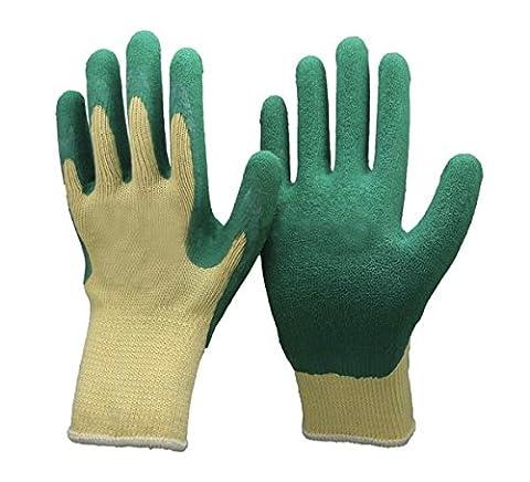 Unisexe Vert & Gants de jardinage jaunes - Polycoton Avec revêtement latex, idéal pour les jardiniers, la manipulation du verre, le bricolage et le travail. (Petit EU 8)