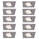 Decken-Einbaustrahler 10er Set | Einbauleuchten LED 5W neutralweiß | Deckenstrahler alufarben eckig | Einbauspot flach | Einbaulampen schwenkbar | Deckenspot modern | Spots + LED-Leuchtmittel
