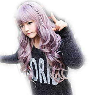 Amybria Curly Japanese Harajuku Zippe Gradient Lolita Cosplay Party Wig Mix Purple