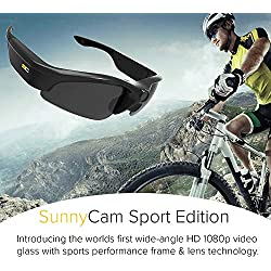 SunnyCam 1080p HD Sport Edition Video Recording Ski Eyewear Sunglasses with Wide Angle Lense