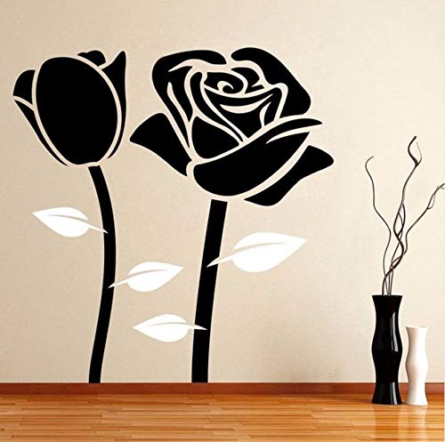 Dalxsh Home Decor Abnehmbare Rose Blume Wandaufkleber Vinyl Home Decoration Wandtattoo Rose Romantik...