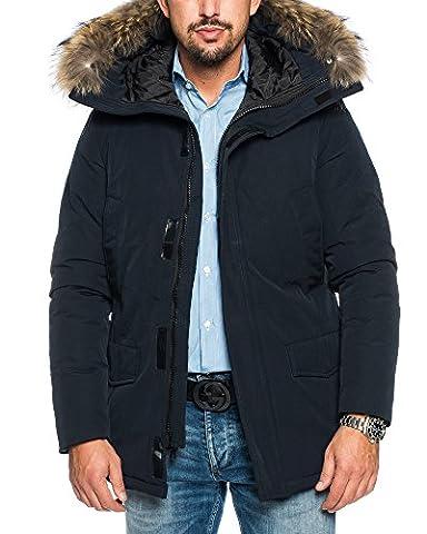 HUSARIA warm gefütterte Herren Parka mit Kapuze und echtem Fell Wintermantel Funktionsjacke Outdoorjacke Jacke Wintermantel Kapuzenjacke Mantel 7002 (L, Dunkelblau)