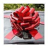Nœud géant (42cm)+ 6mètres de ruban pour voiture ou moto- Rouge holographique