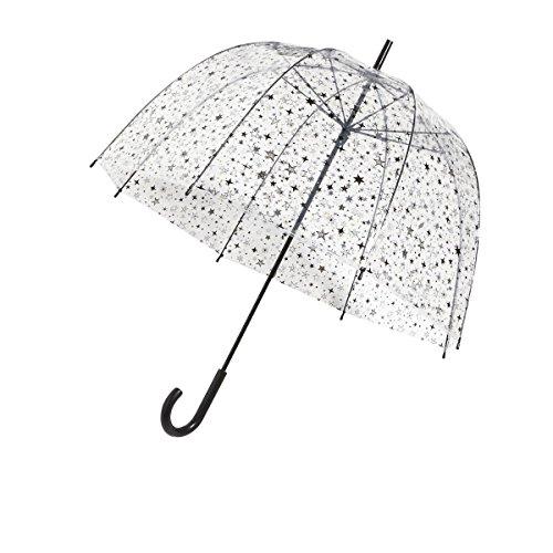 SMATI Parapluie long transparent étoiles Solide Anti-vent cloche