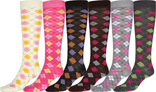 Sakkas AR 70801 Damen nette bunte Design-oder solide Polyester-Mischung, Knie-hohe Socken 6- Pack - Rosa Argyle (Argyle Knie Hoch)