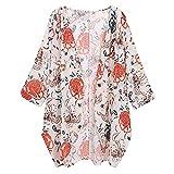 Fenverk Damen Chiffon Floral Kimono Leicht Sommer Cardigan 3/4 Arm Beach Cover Up Bikini Boho Strandkleid(Weiß,XXL)