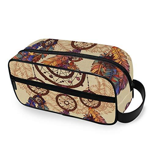 LZXO Bolsa de cosméticos colgante étnico atrapasueños pluma bolsa de aseo de viaje con cremallera organizador de maquillaje profesional portátil bolso de mano de belleza para hombres mujeres y niños