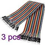 CAOLATOR 3pcs Câbles pour BreadBoard Femelle / Femele , couleur Dupont fils câbles pour Arduino Breadboard (40x 20cm)
