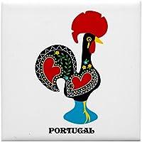 CafePress diseño de gallo de suerte – Portugal azulejos posavasos, posavasos de bebida, pequeño