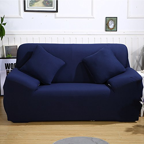 ele ELEOPTION Sofa Überwürfe Sofabezug Stretch elastische Sofahusse Sofa Abdeckung in Verschiedene Größe und Farbe Herstellergröße 95-140cm (Dunkelblau, 2 Sitzer für Sofalänge 130-170cm)